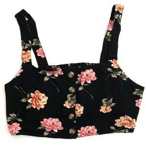 American Eagle•black floral crop top XL